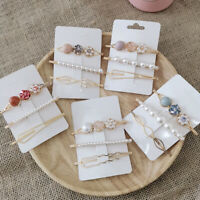 3Pcs Cute Women Hollow Faux Pearl Hairpin Hairclip Barrette Hair Accessories Pre