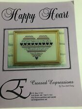 Crossed Expressions Happy Heart Cross Stitch Pattern