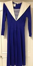 Vintage Size 8 Nautical Navy Blue Fitted Sailor Long Sleeve Cotton Flared Dress