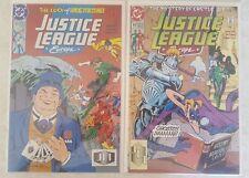 DC JUSTICE LEAGUE EUROPE COMIC LOT #43 & 44 w BAG & BOARD CASTLE JLE AMOS LUCK