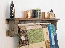 Reclaimed Barn Wood Wall Shelf Quilt Towel Rack Rustic Chic Primitive Cabin