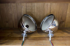 """Chrome Dietz 7"""" Headlight Pair with Pigtail Wire for 1928-34 Hot Rods Antiques"""