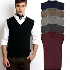 Men Gents V Neck Sleeveless Golf Bowling Cricket Knitted Jumper Pullover S-5XL