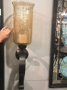 "NEW 30"" AGED BRONZE HAND FORGED METAL GLASS WALL SCONCE CANDLE HOLDER TUSCAN"