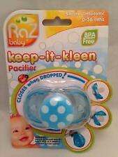 Raz Baby Keep It Kleen Pacifier Blue POLKA DOT Pacifier NIB Closes When Dropped