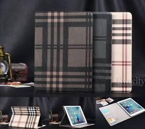 Folio Wallet Net Grid Leather Stand Smart Sleep/Wake Case Cover For iPad Models