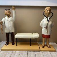 "VTG Doctor Surgeon 12"" Romer Folk Art Carved Wood Doctor Figures Figurines Italy"