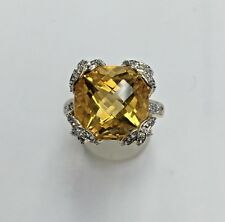 Estate14k Yellow Gold Natural Diamond Citrine Ring Size 7