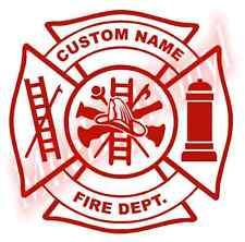 Custom Fire Dept Maltese Cross Vinyl Decal Sticker Window Glass