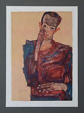 Egon Schiele Lichtdruck Collotype 36x50 Signed Selbstbildnis Self Portrait 1910