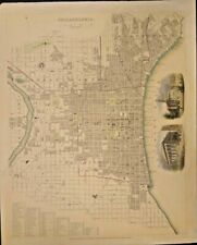 EXTREMELY RARE MAP OF A PART OF THE CITY OF PHILADELPHIA 1840 GENUINE FRAMEABLE