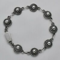 Vintage Mexican Button Chain Bracelet in Solid 925 Sterling Silver