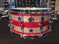 Precision Drum Company 14x7 Stars and Stripes Glass Glitter Snare Drum Trick t/o
