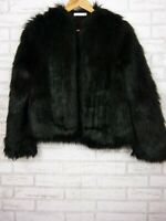 Cooper Street Fake fur jacket coat Sz 6 Black