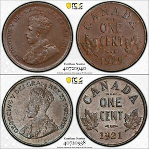 PCGS AU-58/55 CANADA LOT OF 2 COINS: SMALL 1 CENT 1921 + 1929