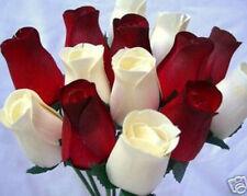 24 Cream&Red Dark Tip Wooden Roses Wholesale Home Christmas Flowers+6 Grasses