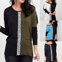 Womens Long Sleeve Sequin Patchwork Tops Blouse Ladies Casual Loose T-Shirt Tops
