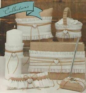 Wedding Guestbook,Pen, Garter, Flower Basket,Pillow,Candle Rustic Romance Burlap