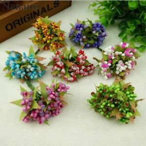 Mini Glass Stamen Bud Artificial Flower Bouquet For Wedding Decoration DIY Wreat