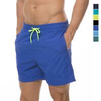 Mens Swimsuits Swim Trunks Cool Quick Dry Solid Beach Board Shorts with Pockets