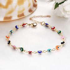 Gold Colorful Beads Turkish Evil Eyes Charm Bracelet & Bangle Birthday Gift