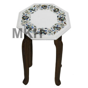 Marble Coffee Table Top Inlay Gem Stones Mid Century Vintage Carved Side Table