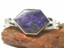 Chunky  Charoite  BANGLE  925  Sterling  Silver  - Gift  Boxed  -  Hallmarked
