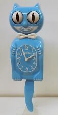 KITTY CAT CLOCK  IN SCUBA BLUE COLOR MADE IN THE USA (FREE BATTERIES)  KC-5