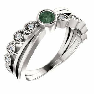 Genuine Alexandrite & .05 CTW Diamond Bezel-Set Ring In Platinum