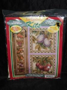 Teresa Wentzler Peach Grape Pear Cherry Fruit Bell Pull Cross Stitch Kit NEW NIP