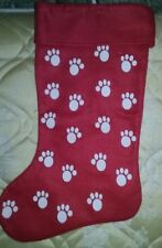 CHRISTMAS STOCKING PET DOG PUPPY PUP KITTEN KITTY CAT ANIMAL PAWS RED * NEW *