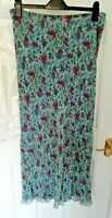 JIGSAW Size 16 Blue Pink Floral Country Style Cottage Core Long Maxi Skirt Rayon