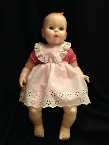 Vintage Gerber Baby 17 Inch Doll 1979 Red White Gingham 50th Anniv Moving Eyes