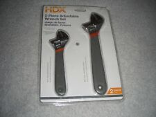 "2 Piece HDX Adjustable Wrench Set 6"" & 8"" Non-Slip Handles (new) Free Shipping"