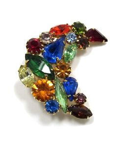 Vintage Multicolor Crescent Pin Jewel Tones, Multi Shapes, Dogtooth Settings