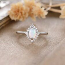 Solid 14k White Gold Over 1 CT Oval Cut Fire Opal Halo Diamond Anniversary Ring