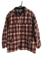 Woolrich Heavy Wool Jacket Mens Large Red Brown Plaid Button Up Outdoor Hunt Euc
