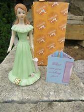1982 Enesco Growing Up Birthday Girls Porcelain Figurine Age 15 Brunette w box