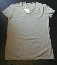 T-shirt maglietta uomo color sabbia 100% cotone slim fit scollo a V S-M-L-XL-XXL