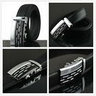 Mens Black Dress Fashion Leather Belt with Auto Lock Stainless Steel Buckle NEW