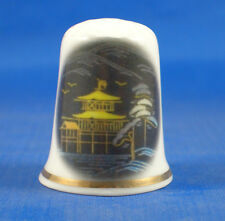 Birchcroft China Thimble -- Oriental -- Gold Pagoda -- Free Dome Box