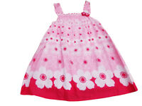 BNWT Girls pink flower cotton floral summer dress clothes  2-3 Years 5-6 Years
