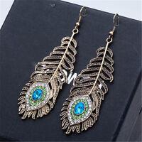 Vintage Women Rhinestone Peacock Eye Feather Dangle Hook Earrings Gift Glitzy U