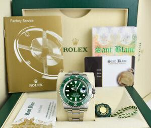 "ROLEX Mens Stainless Steel SUBMARINER Green CERAMIC ""HULK"" 116610LV SANT BLANC"