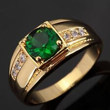 Popular Halo 18K Gold Filled Ring Emerald Fashion Jewelry Wedding Rings for Mens