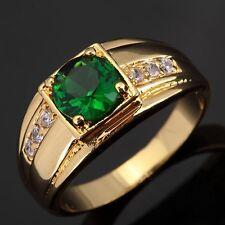 Size 8,9,10,11 Women Mans 18K Gold Filled Emerald  Engagement Wedding Ring Halo