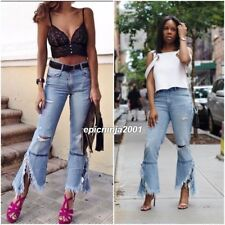 STYLISH ZARA BLUE DENIM HIGH WAIST FLARED RIPPED JEANS SIZE UK 6 EU 34 USA 2