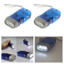 2X 3 Bright LED Dynamo Wind Up Flashlight Hand-pressing Crank Manual Generator