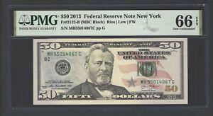 United State -Federal Reserve Note 50 Dollars 2013 F2132-B (MBC Block) Grade 66