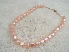 Pink Cube Fused Bead Necklace (C7)